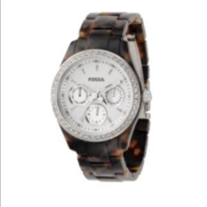 Brown Tortoise Shell Fossil Watch